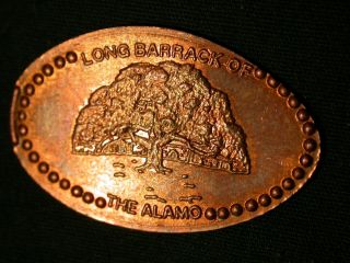 Long Barrack Of The Alamo Elongated Penny Pressed Smashed. photo