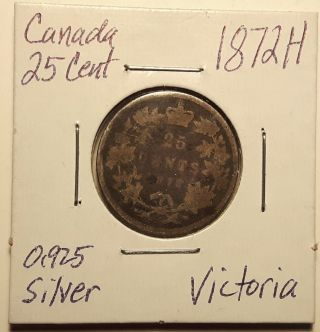 1872 H Canada 25 Cent Silver Quarter Victoria photo