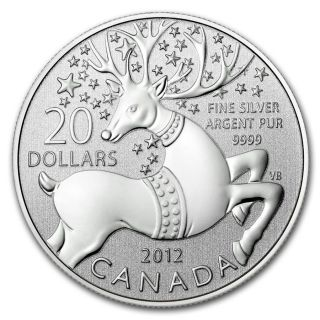 2012 Silver Canadian $20 Coin & - Magical Reindeer photo