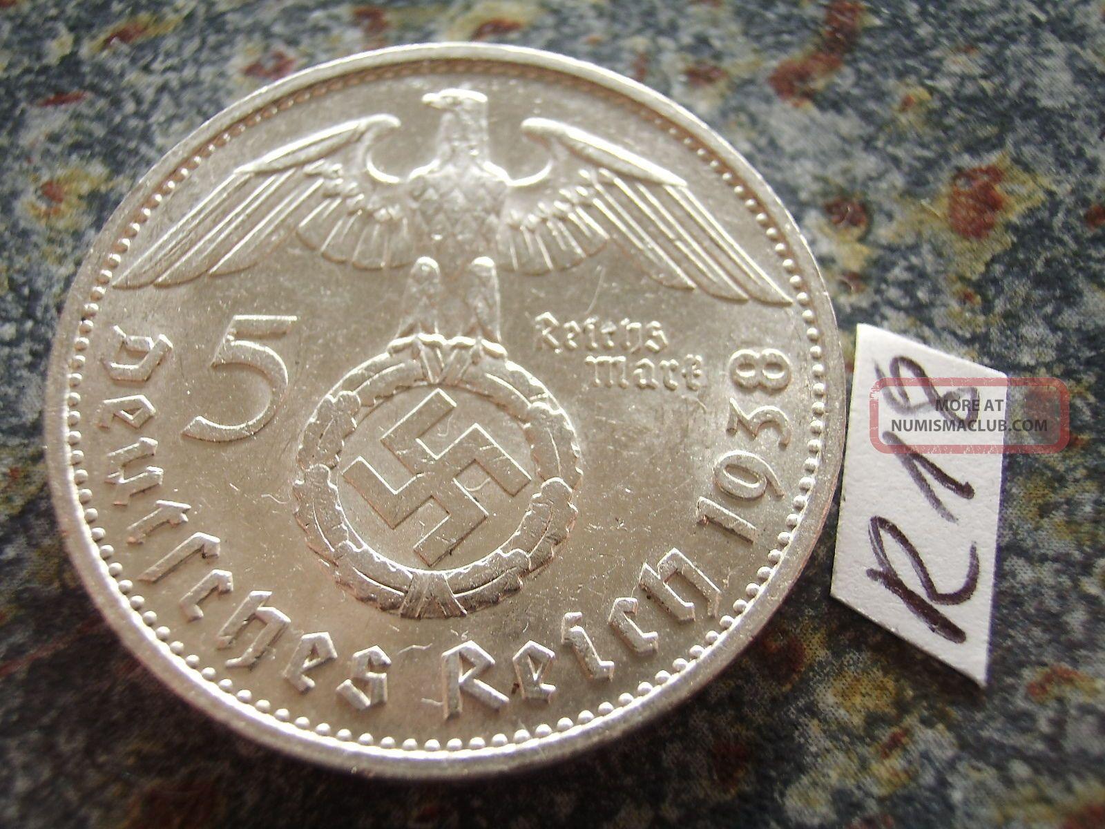 1938 G Third Reich 5 Mark Silver Swastika Eagle / Earl Hindenburg Reichsmark Germany photo