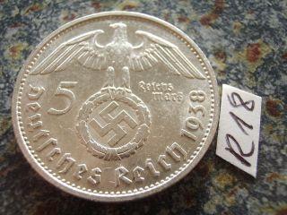 1938 G Third Reich 5 Mark Silver Swastika Eagle / Earl Hindenburg Reichsmark photo