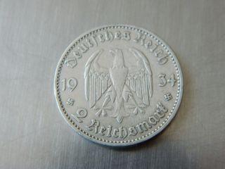 Nazi Third Reich German 2 Reichsmark 1934a With Swastikas (4188) photo