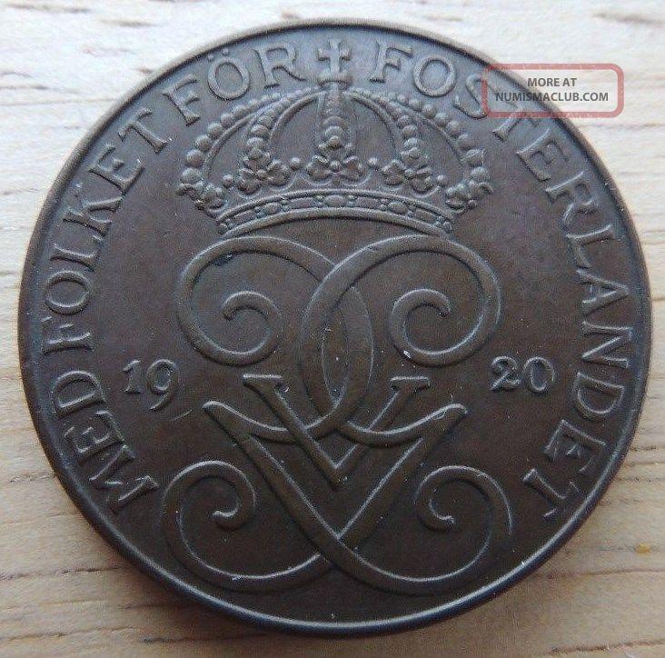 Sweden 1920 5 Ore Bronze Extra Fine,  Km - 779.  2 Sweden photo