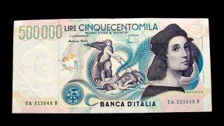 1997 Italy Rare Banknote 500000 Lire Xf Raffaello photo