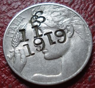 Counterstamped 1914 - R Italy 20 Centesimi In Fine photo