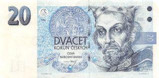 Czech Republic 20 Korun 1994 P 10a Series A Circulated Banknote Ef11 photo