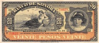 Mexico / Sonora 20 Pesos Nd.  1897 S 421r Series Dy Circulated Banknote photo