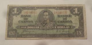 1937 Bank Of Canada $1 Dollar Bill (coyne/towers) Prefix R/n 9246552 photo