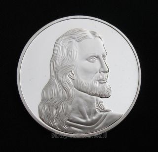Jesus Christ,  Last Supper,  Christian Prayer,  Silver Commemorative Coin Token photo