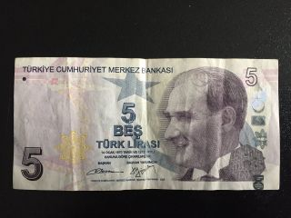 1x 5 Turkish Lira Banknote Commemorative Collectible Paper Money/clean photo