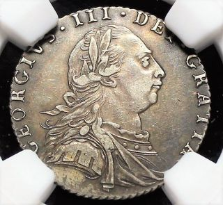 . 925 Silver 1787 Great Britain 6 Pence Km 606 Hearts George Iii Ngc Xf45 photo