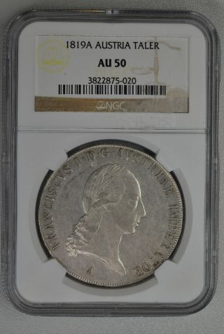 Coin Franciscvs Austria Taler 1819a Ngc Au50 photo