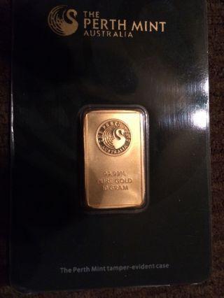 10 Gram Perth Gold Bar.  9999 Fine (in Assay) photo