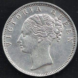 British India - 1840 - Victoria Queen - Continuos Legend - One Rupee - Rare Silv photo