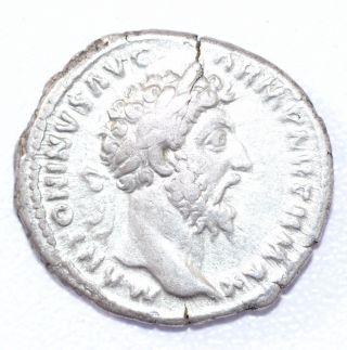 Rare Authentic Marcus Aurelius,  Ar Silver Denarius,  Roman Coin,  Rv.  Pax - A884 photo