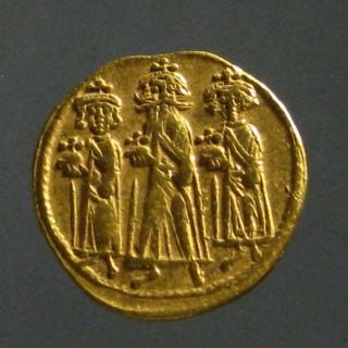 Heraclius Av Gold Solidus_constantinople Mint_heraclius & Sons_cross photo