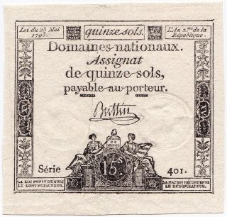 France,  15 Sols 1793,  Pick A69b,  Xf photo