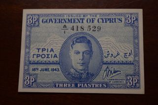 Cyprus 3 Piastres 18 June 1943 Pick 28 Aunc/unc photo
