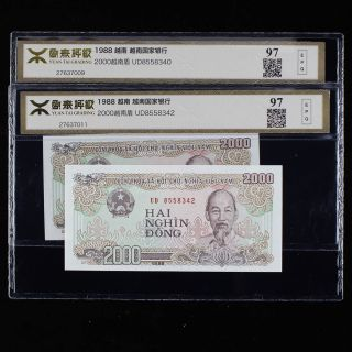 Vietnam The Bank Of Viet Nam 2000 Dong Yuantai Grading 98epq Gem Unc 2pc photo
