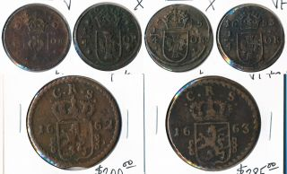 (1634 - 1663) Six Sweden Coppers Exceptional Examples Cv $900, photo
