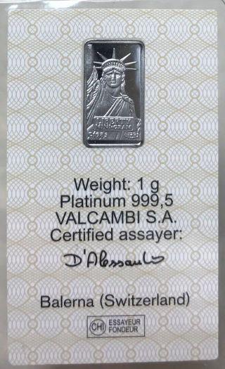 Platinum 1 Gram 999.  5 Pure Platinum Bar 1 G Credit Suisse photo