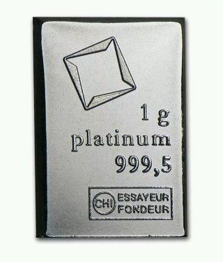1 Gram Platinum Bar - Valcambi Suisse photo