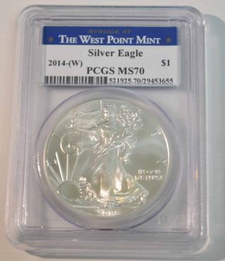 2014 $1 American Silver Eagle Coin Pcgs Ms70 West Point Label photo