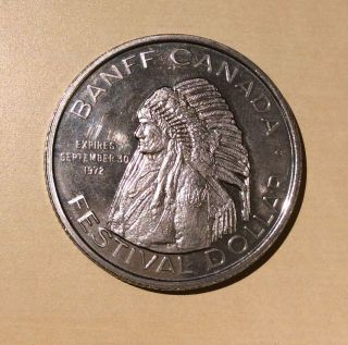 Banff Canada 1972 Festival Dollar Indian Head Dress Indian Days Trade Dollar photo