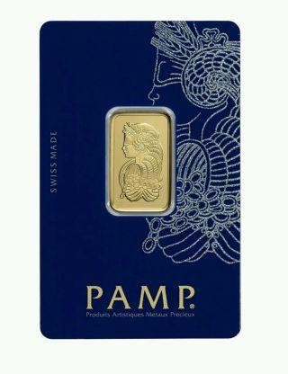 10 Gram Gold Bar - Pamp Suisse - Fortuna - 999.  9 Fine In Assay photo