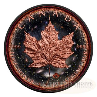 Logarithmic Universe Maple 2016 1 Oz Silver Maple Leaf Coin Ruthenium Rose Gold photo
