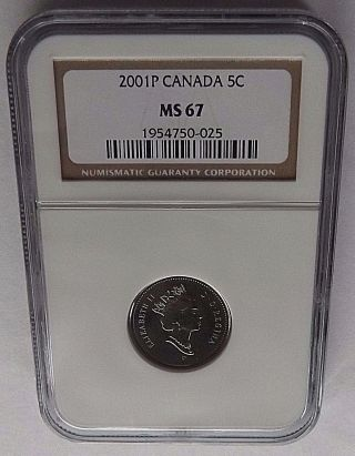 2001p Canada Ngc Ms67 Nickel Top Pop Only 2 Exist In Ms67 Ngc Total Census=3 photo