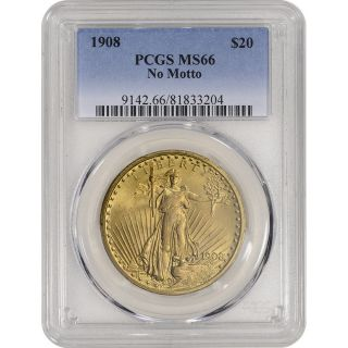 1908 Us Gold $20 Saint - Gaudens Double Eagle - No Motto - Pcgs Ms66 photo