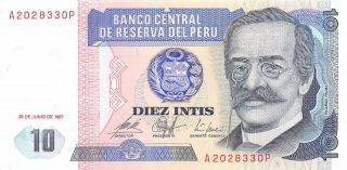 Peru 10 Intis 26.  6.  1987 Block Ap Uncirculated Banknote,  G6 photo