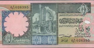 Libya 1/4 Dinar Nd.  1990 ' S P 52 Prefix 4 H/21 Uncirculated Banknote photo