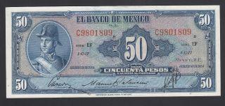 Mexico 50 Pesos 10 - 02 - 1954 Au - Unc P.  49f,  Banknote,  Uncirculated photo