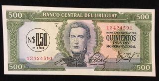 Uruguay 100 Pesos Unc Banknote 1967 Serie A photo
