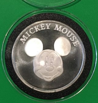 1998 Disney ' S Mickey Mouse 70th Birthday 1 Troy Oz.  999 Fine Silver Round Coin photo