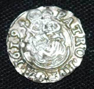 1619 Hungary Silver Denar - 14mm/0.  47g - Madonna&child - Mary&christ - Tvc photo