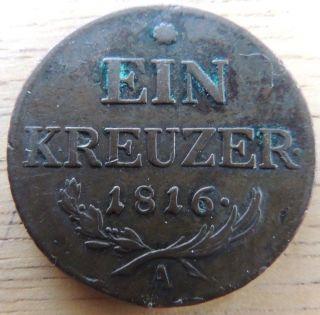 Austria 1816 - A Copper Ein Kreuzer Very Fine Km - 2206 photo