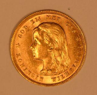 1897 Netherlands Queen Wilhelmina 10 Gulden Gold Coin photo