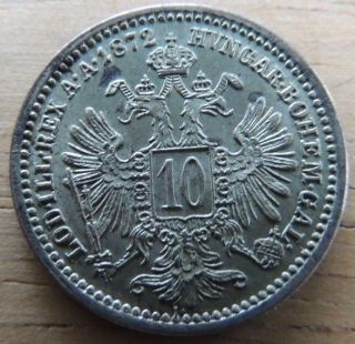 Austria 1872 Silver 10 Kreuzer About Uncirculated Km - 2206 photo