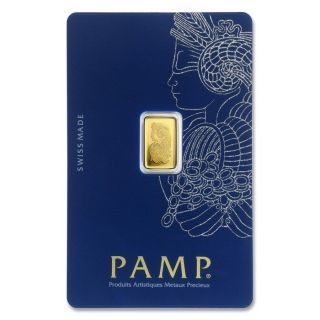 Pamp Suisse.  9999 Fine Gold 1 Gram Bar Fortuna Veriscan Bullion Ingot W/assay photo