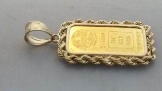 24k.  999 Gold 5gram Bullion Engelhard 14k Framed Rope Pendant photo