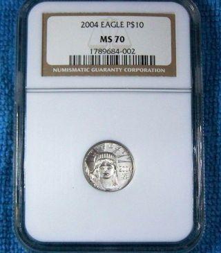 2004 P$10 Platinum Eagle 1/10 Ounce Ngc Ms70 $390 Ngc Price photo