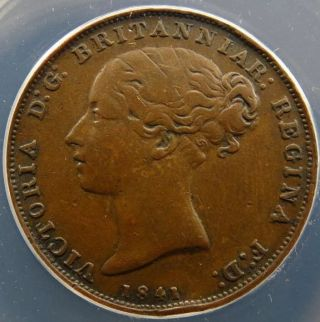 1841 States Of Jersey 1/26 Shilling Anacs Vf 30 Details Bent Edge photo