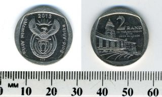 South Africa 2013 - 2 Rand Nickel Plated Copper Coin - 100th Ann Union Buildings photo