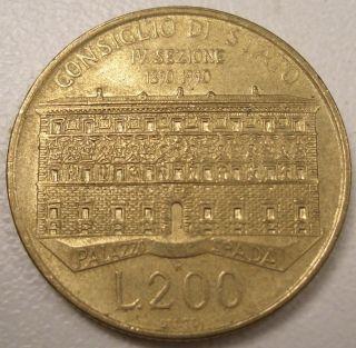 1990 Italy 200 Lire Coin Lqqk photo