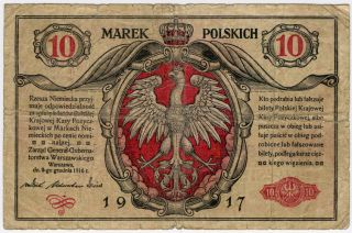 Poland 1917 Issue 10 Marek Polskich Scarce Note.  Pick 12. photo