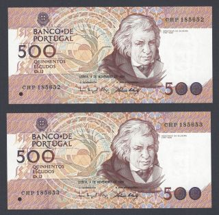 Portugal 2x500$00 Ch.  12 De 4/11/1998 Uncirculated/gem (running Numbers) photo