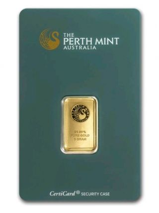 Perth 5 Gram 999.  9 Gold Bullion Bar - In Assay Card - 24k Pure Gold - 5gr photo